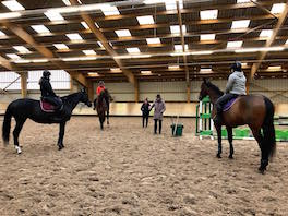 Photo prise lors d'un cours d'équitation de 3 cavaliers avec un enseignant au Club hippique Eckwersheim situé près de Strasbourg