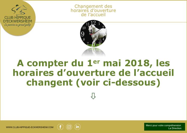 Changement des horaires d'ouverture de l'accueil du Club hippique situé près de Strasbourg