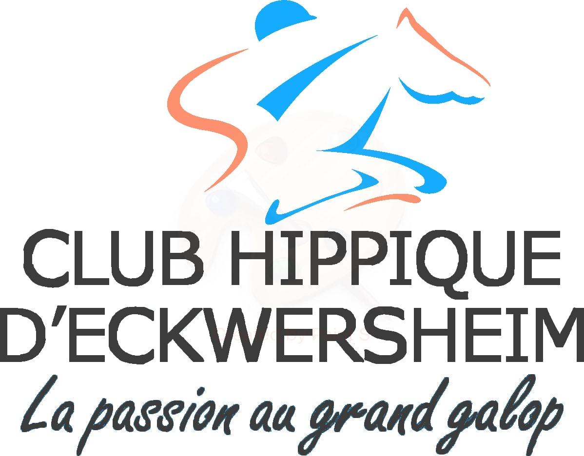 Logo noir d'un cavalier sur sa monture sur fond transparent avec la baseline du club hippique Eckwersheim