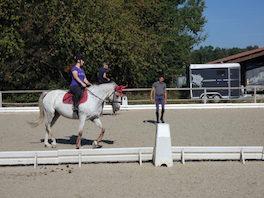 Photo d'un cours de pédagogie équestre dispensé à une cavalière sur son cheval par un instituteur du Club hippique Eckwersheim situé près de Strasbourg