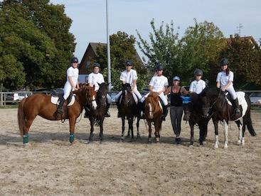 Photo d'un cours de pédagogie équestre avec des poneys au club hippique Eckwersheim situé près de Strasbourg